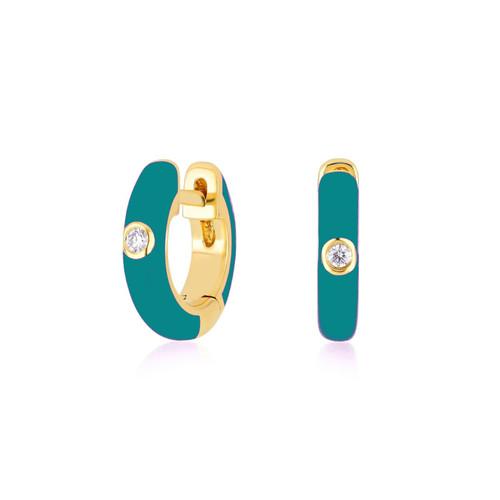 14KT Enamel and Single Diamond Huggie Hoop Earrings