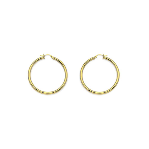 14KT Round Hollow Tube Hoops