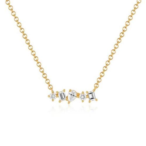 14KT Multi Shaped Mini Diamond Bar Necklace