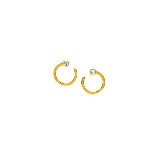 14KT Small Open Circle Stud Earrings