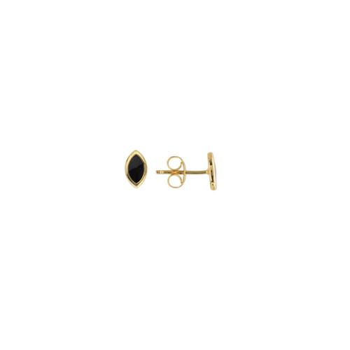 14KT Black Enamel Marquise Stud Earrings