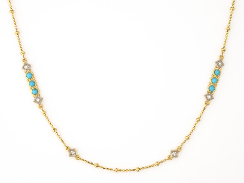 18KT Lisse Diamond and Turquoise Bead Necklace
