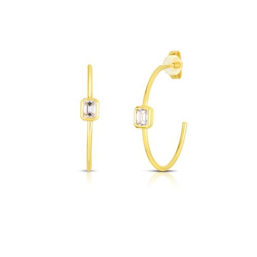 18KT Emerald Cut Hoop Earrings