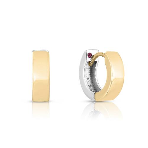 18KT Two Tone Oro Classic Huggie Earrings