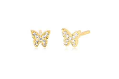 14KT Diamond Baby Butterfly Stud Earrings