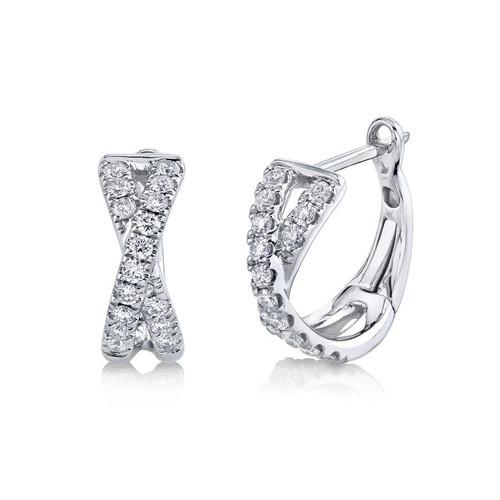 14KT Diamond Twist Huggie Hoops