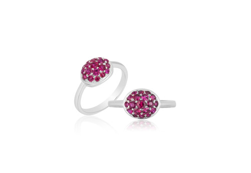 """Pave"" Oval Ring in Rubies"