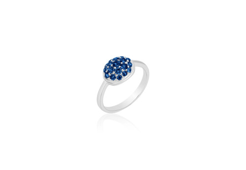 """""""Pave"""" Oval Ring in Blue Sapphires"""