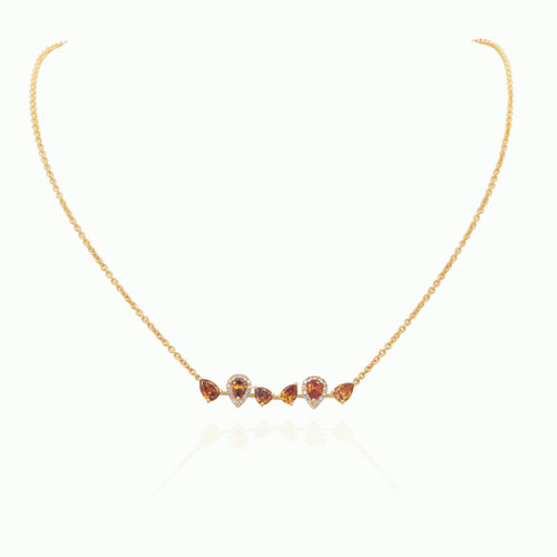 Yellow and White Diamond Bar Necklace
