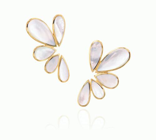 Mother of Pearl Pear Shape Cluster Earrings