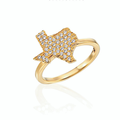 18KT Diamond Pave Texas Ring