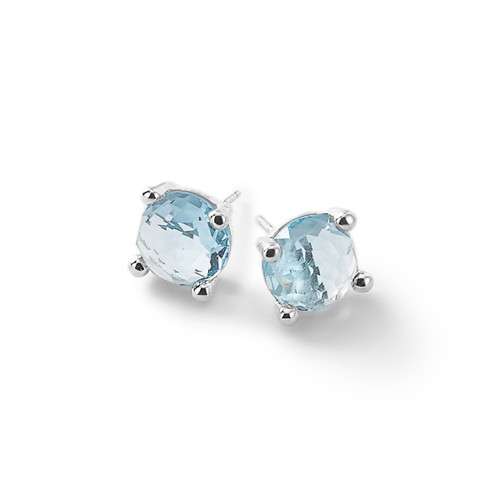 Mini Blue Topaz Stud Earrings