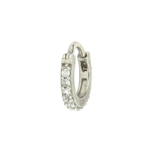 Petite Pave Single Hoop Earring