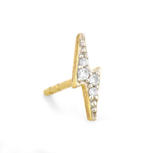 Petite Diamond Lightening Bolt Stud Earring