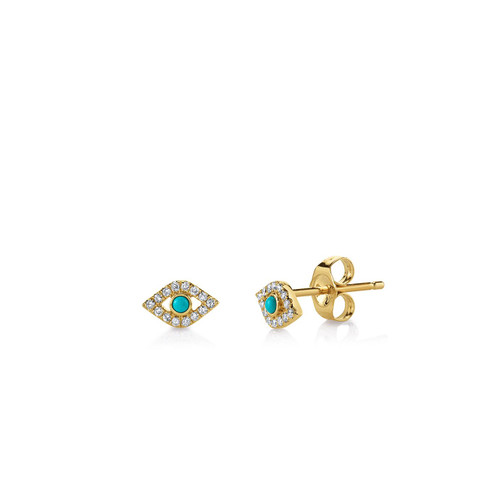 Small Bezel Evil Eye Stud Earring
