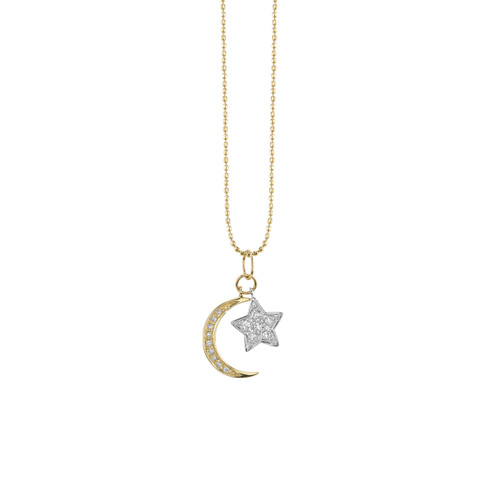 14KT Moon and Star Necklace
