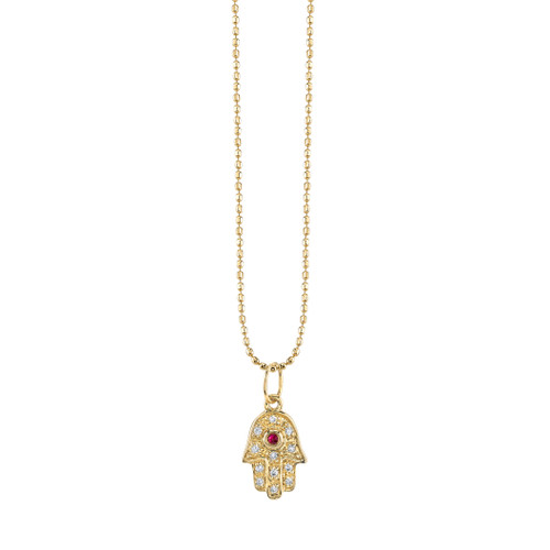 14KT Baby Hamsa and Ruby Necklace