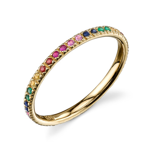 14KT Multicolor Sapphire Eternity Band