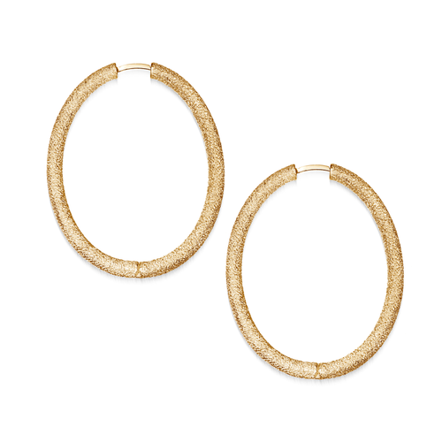 18KT Florentine Finish Large Oval Thick Hoop Earrings