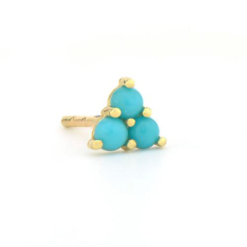 Turquoise Petite Three Stone Stud Earring
