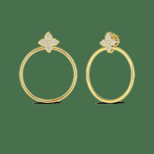 18KT Diamond Princess Flower Hoop Earrings
