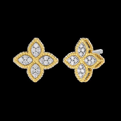 18KT Medium Princess Flower Stud Earrings