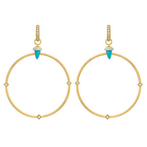 Open Hoop Turquoise Bullet Earring Charms