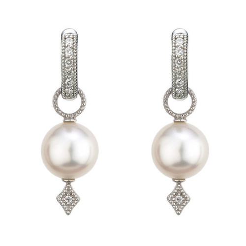 White Gold 9-10mm Pearl Earring Charms