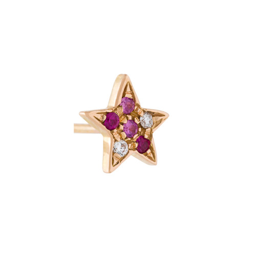 18KT Pave Star Stud Earring