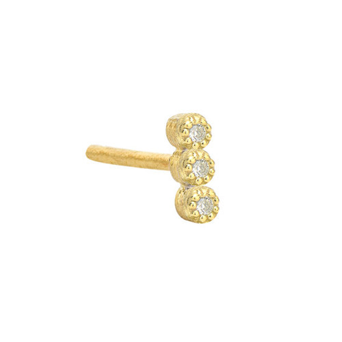 Yellow Gold Petite Tiny 3 Diamond Stud