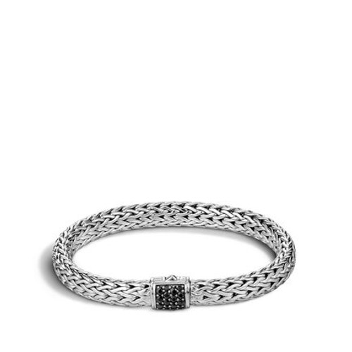 Classic Chain 7.5mm Bracelet in Silver and Black Sapphire
