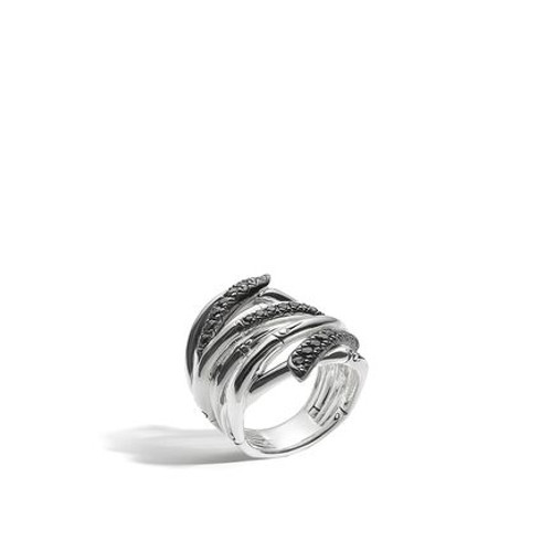 Bamboo Ring in Silver and Black Sapphire
