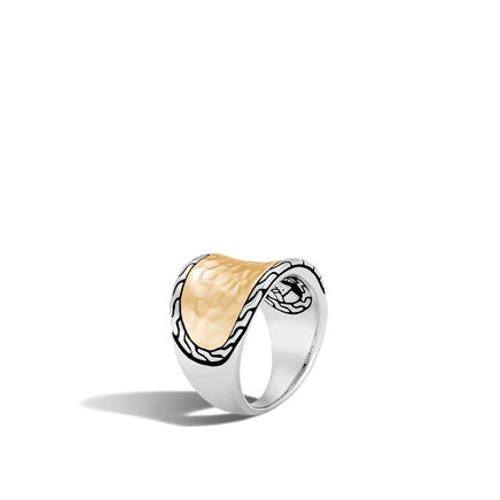 Classic Chain Hammered Saddle Ring