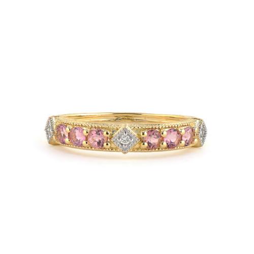 Pink Tourmaline Round Stone Lisse Band