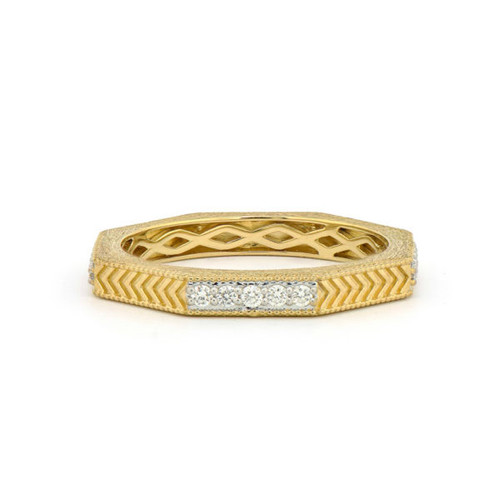 Lisse Octagonal Engraved Pave Band
