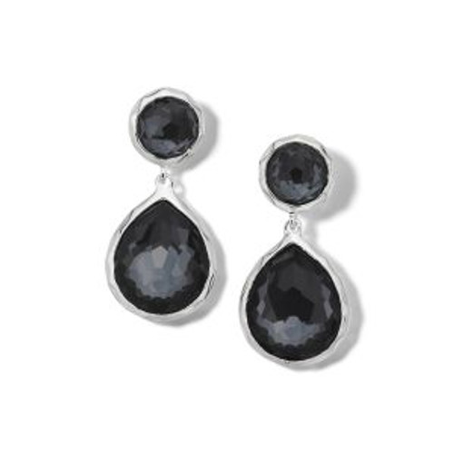 Hematite 2 Stone Dangle Post Earring
