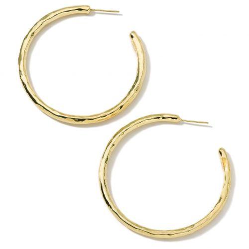 18KT Large Hammered Hoop Earrings