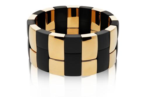 2 Row Yellow Gold & Black Aura Bracelet