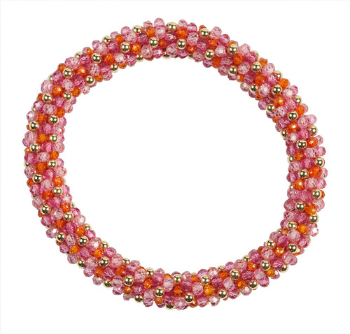 Orange and Pink Zircon Beaded Bracelet