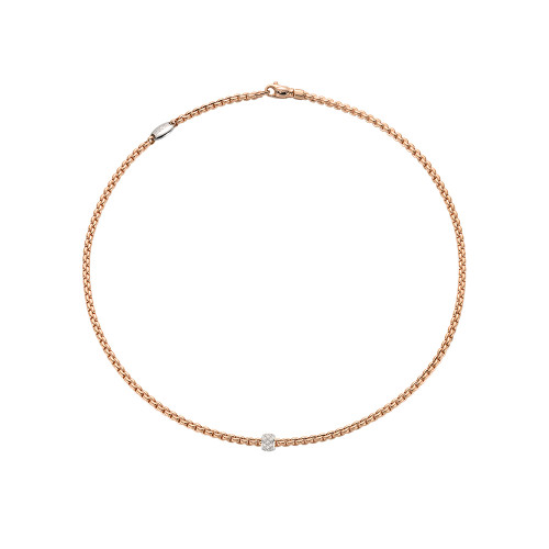 EKA Tiny Flexible Link and Diamond Necklace in Rose Gold