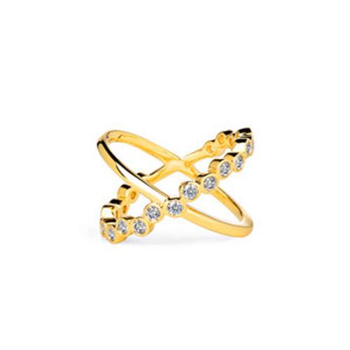 Bubbles Cross Champagne Diamond Ring