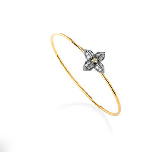 18KT Oxidized Silver Flower Bracelet with Diamonds