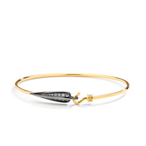 Yellow Gold and Oxidized Silver Love Leaf Bracelet
