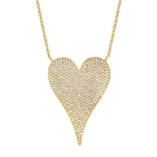 14KT Large Diamond Pave Heart Necklace