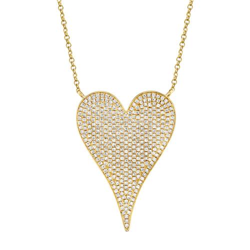 14KT Large Diamond Pave Heart Necklace