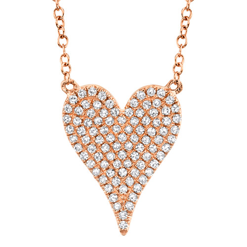Sm Rose Gold Diamond Heart Necklace