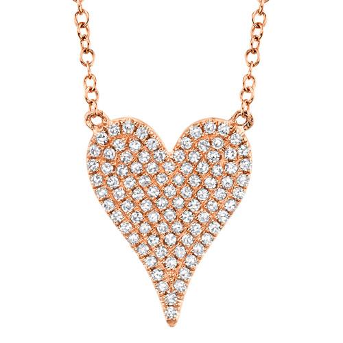 14KT Small Diamond Pave Heart Necklace