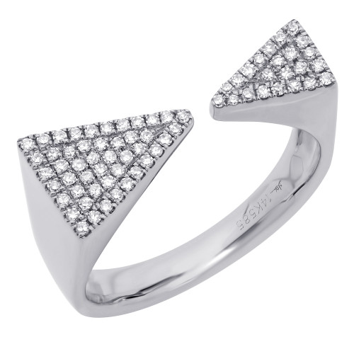Open Diamond Triangle Ring