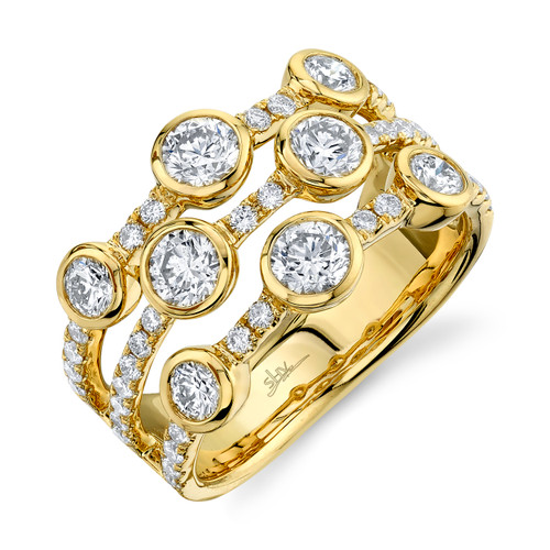 Yellow Gold Triple Row Diamond Ring