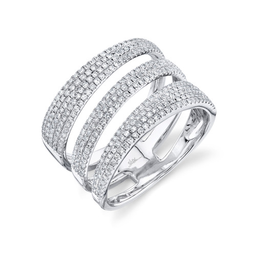 White Gold Triple Row Diamond Ring